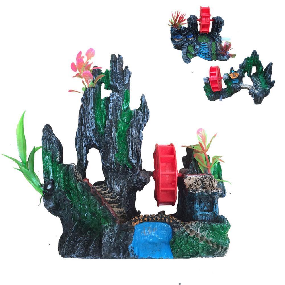 2018, ornamento artificial para acuario, molino de rocalla, pecera, decoración subacuática, artesanía de resina, Rocalla, paisajismo para el hogar de la Oficina