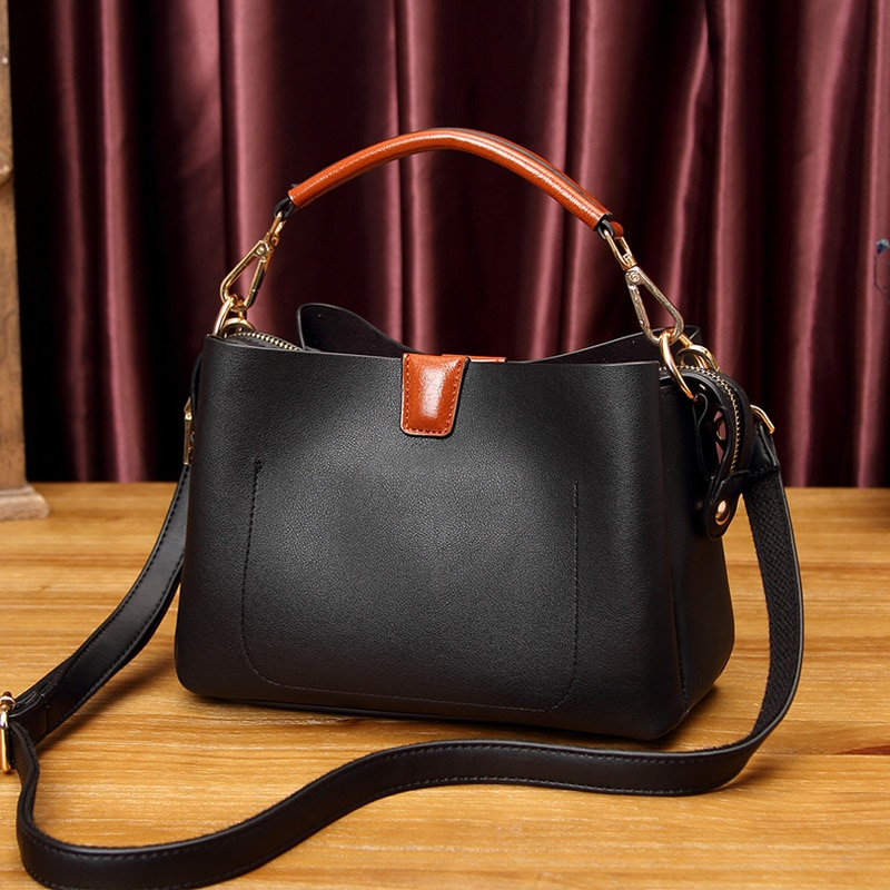 Senhoras de couro da vaca real do vintage bolsas femininas bolsas couro genuíno totes messenger bags marca luxo bolsa ombro crossbody t30
