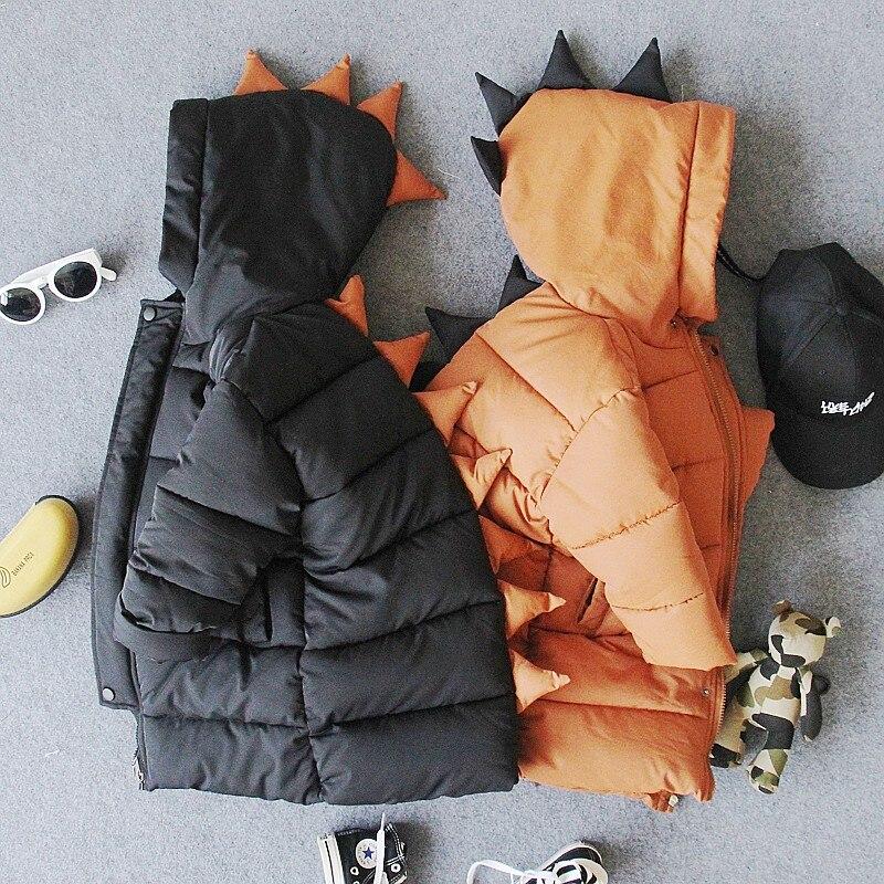 فقط سترة دافئة 1 قطعة 2-8Y جديد الشتاء الفتيان سميكة الدافئة المحشوة بالقطن الكرتون سترة بقبعة الاطفال الشتاء سترة