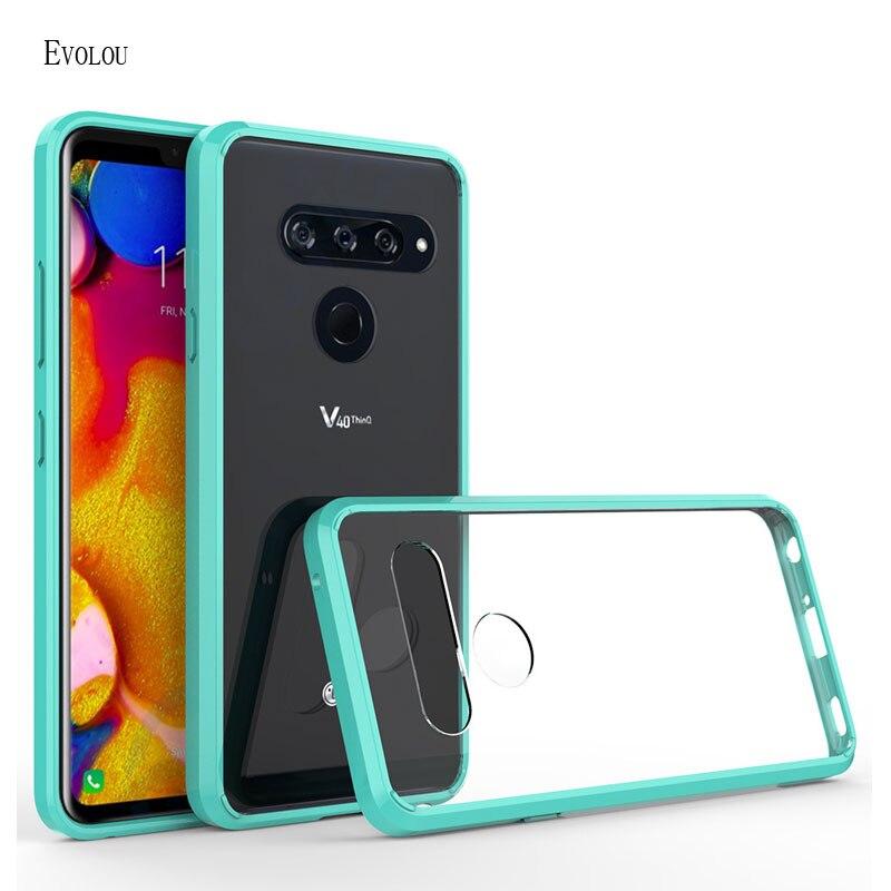 Funda de teléfono acrílica transparente para LG V40, carcasa a prueba de golpes, carcasa híbrida de TPU, funda transparente y dura para LG V30 / V40 ThinQ