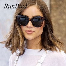 RunBird Oversized Cat Eye Flat Top Sunglasses Women 2019 Brand Design Gradient Lens Sun Glasses Retr