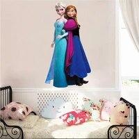 Autocollants muraux de dessin anime Elsa   Anna princesse la reine des neiges  decoration de chambre de soeurs  autocollants de maison  affiche dart Mural en Pvc pour bricolage
