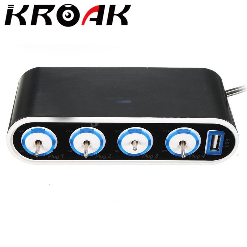 KROAK 4 Way zasilacz samochodowy gniazdo do zapalniczki rozgałęźnik ładowania 12 V/24 V USB + włącznik światła led