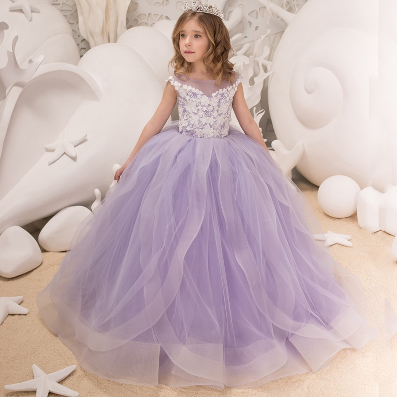 New Elegant Girls Tulle Beading Double V-neck Cap Sleeves Ball Gowns Flower Girl Dresses Princess Birthdays Party Wedding Gowns