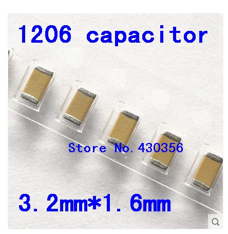 Envío Gratis 100 Uds 1206 SMD condensador 50V 22P 33P 47P 100P 220P 330P 470P 1NF 2.2NF 4.7NF 10NF