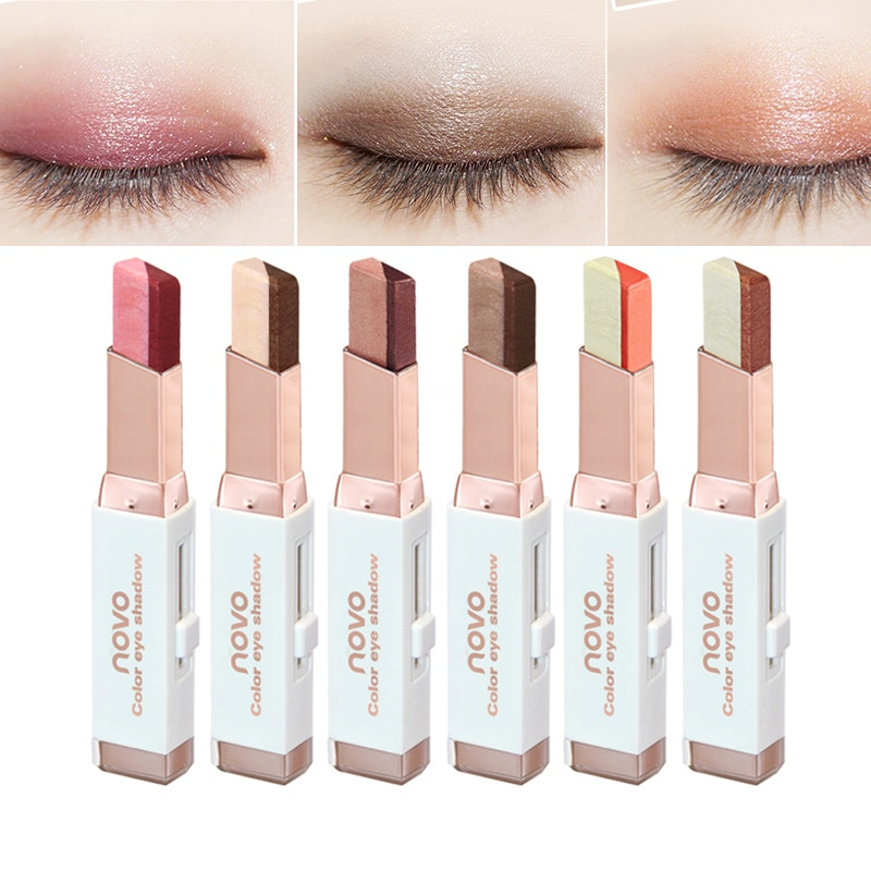 Eyeshadow Stick Stereo Gradien Shimmer Double Color Eye Shadow Cream Pen Eye Makeup Cosmetics Tool W