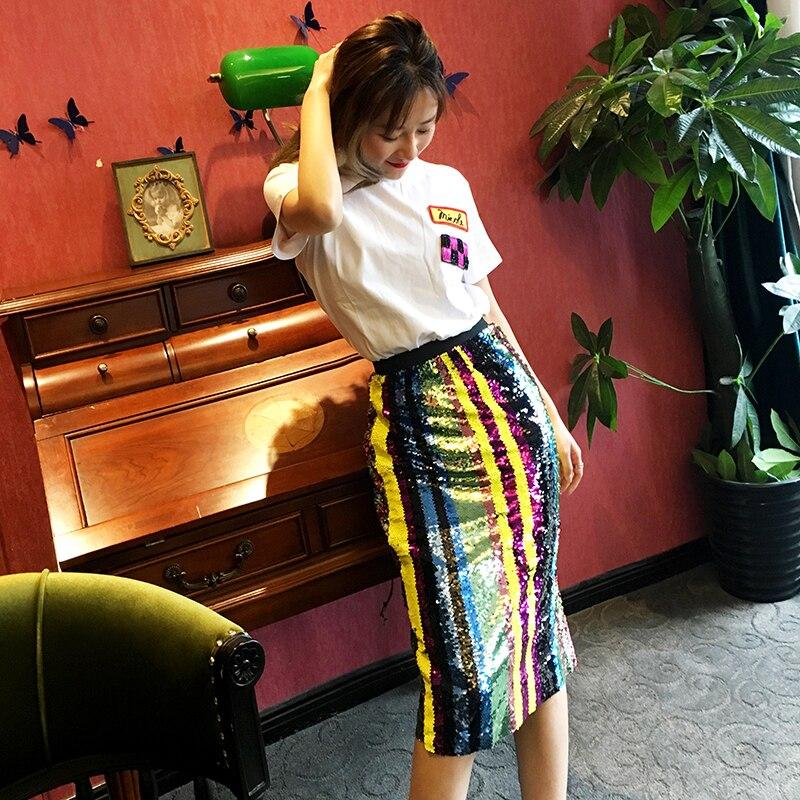 Faldas diseño arcoíris Bling lentejuelas que brillan Arco Iris holograma lápiz Midi Falda Mujer Paillette medio-body Shine