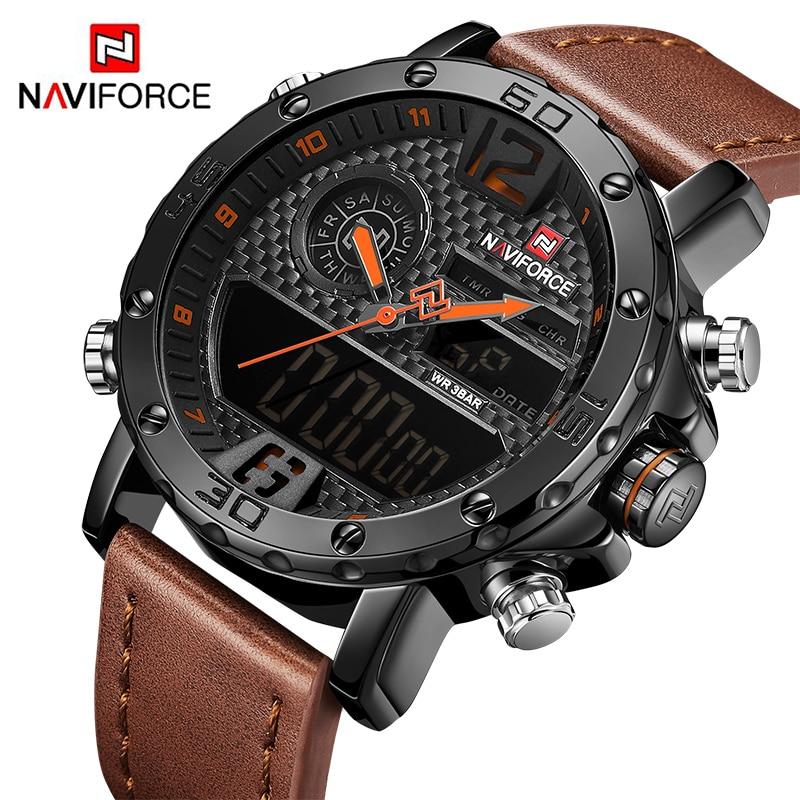 NAVIFORCE To Luxury Brand Mens Watches Men Leather Sports Watches Men's Quartz LED Digital Clock Waterproof Military Wrist Watch