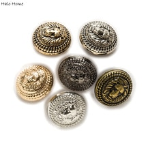 Halo Home 5pcs Lion Pattern Shank Metal Button Round for Sewing Clothing Suits Blazer Jacket Uniform