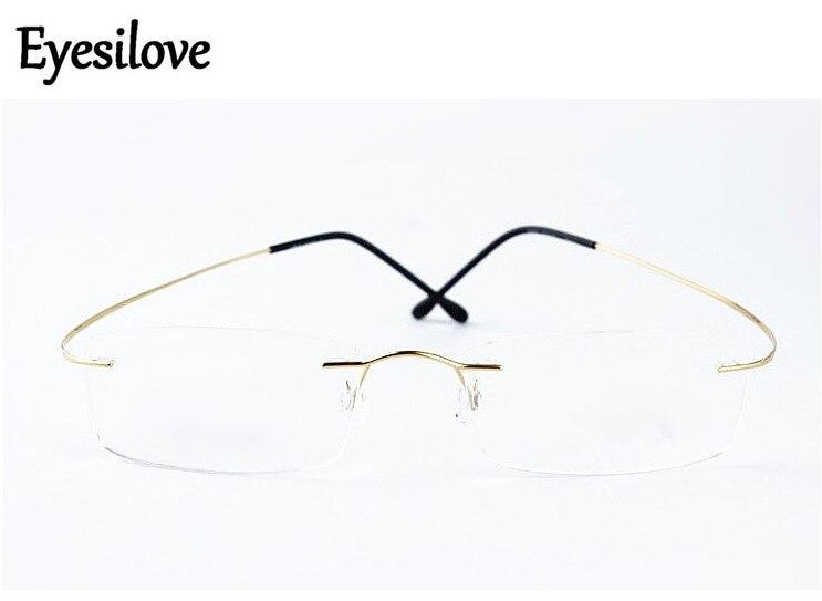 Eyesilove finished rimless myopia glasses men women titanium alloy Nearsighted Glasses short-sighted eyeglasses -1.00 to -6.00