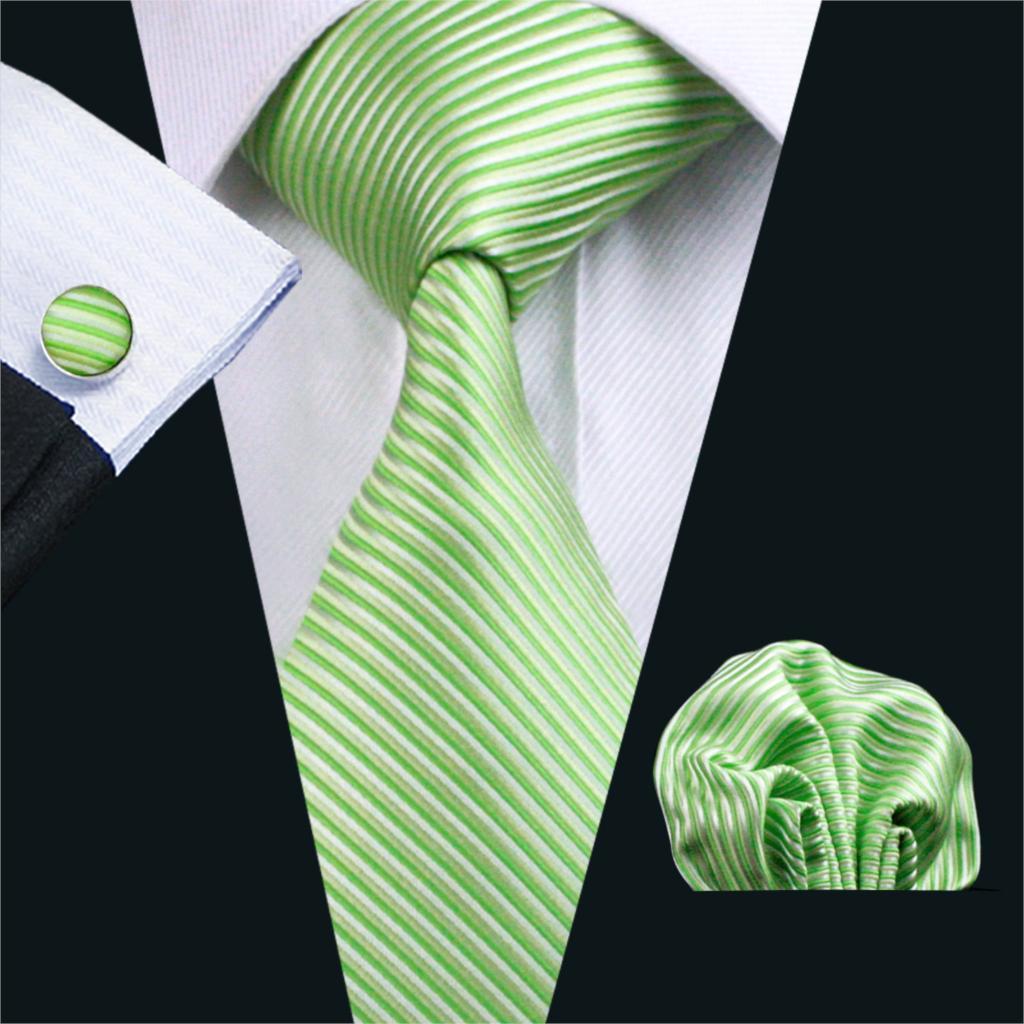 FA-858 2018 Barry. Wang nuevo Mens Tie verde Solied seda Jacquard tejido Gravata corbata pañuelo gemelos Set para negocios boda