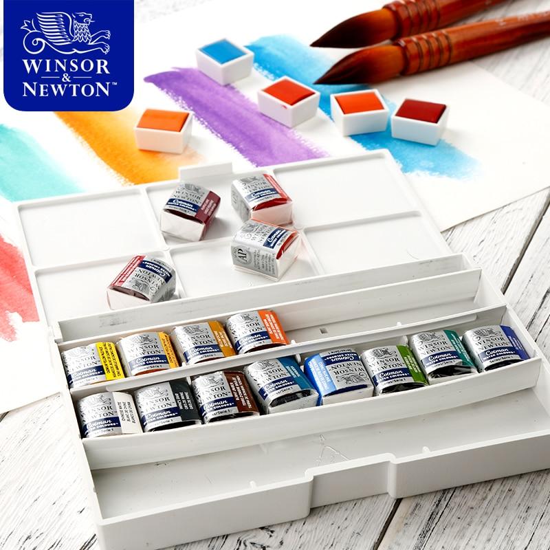 Winsor & newton pinturas de aquarela, cor sólida, 12/16/24/45 cores, meia panela, conjunto de pigmentos para arte artística suprimentos