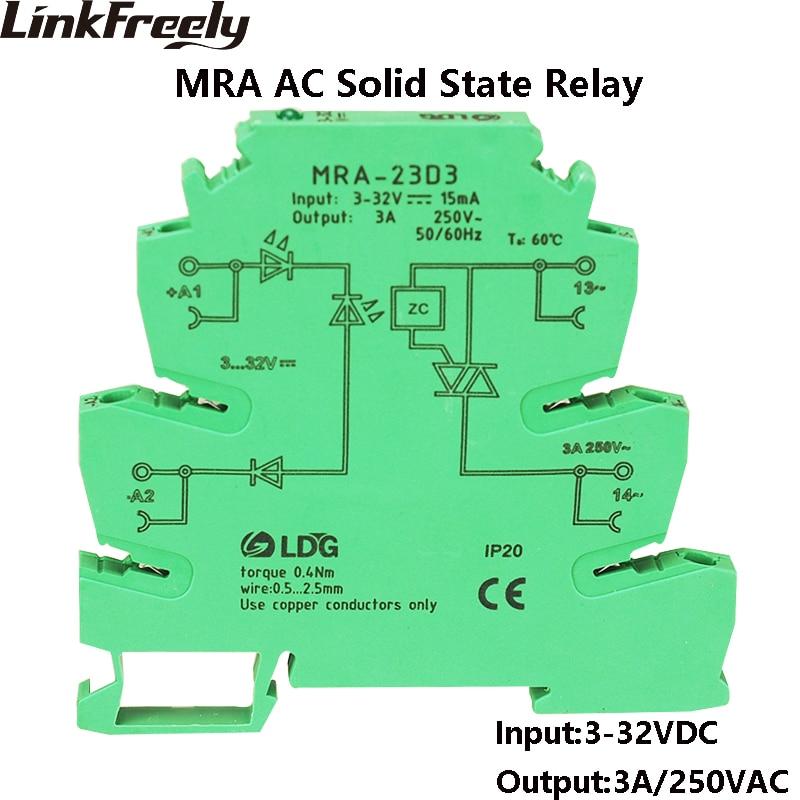 MRA-23D3 10 Uds nuevo Mini 3A entrada 3V 5V 12V 24V DC SSR relé de estado sólido interfaz de arranque suave relé de voltaje módulo DIN Rail