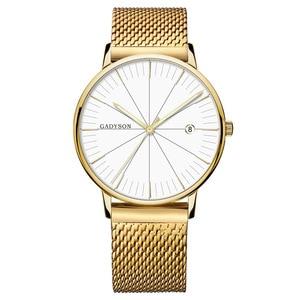 Модные высококачественные простые черные деловые мужские часы с календарем Модные мужские золотые часы из металлического сплава