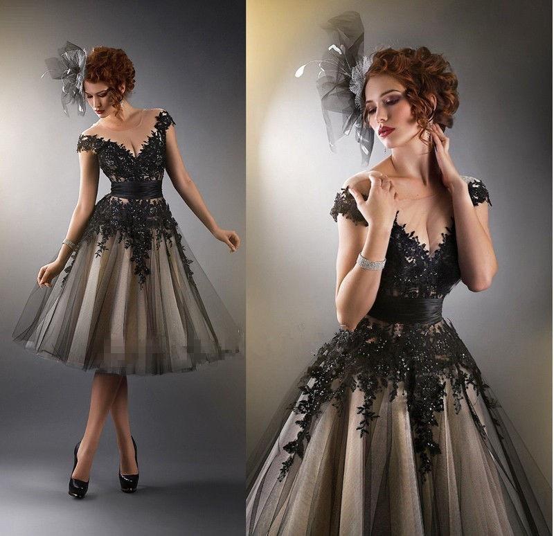 Gran oferta A-line mangas de casquillo tul de encaje y apliques negro Sexy vestidos de fiesta para mujeres vestido de graduación vestidos de noche vestido de noche