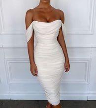 Dentelle blanche de célébrité de haute qualité hors de lépaule robe Bandage rayonne robe de soirée