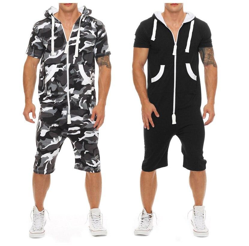 2019, камуфляжная модель, мужские толстовки с коротким рукавом, комбинезон, мужской летний повседневный комбинезон в стиле пэчворк, спортивна...