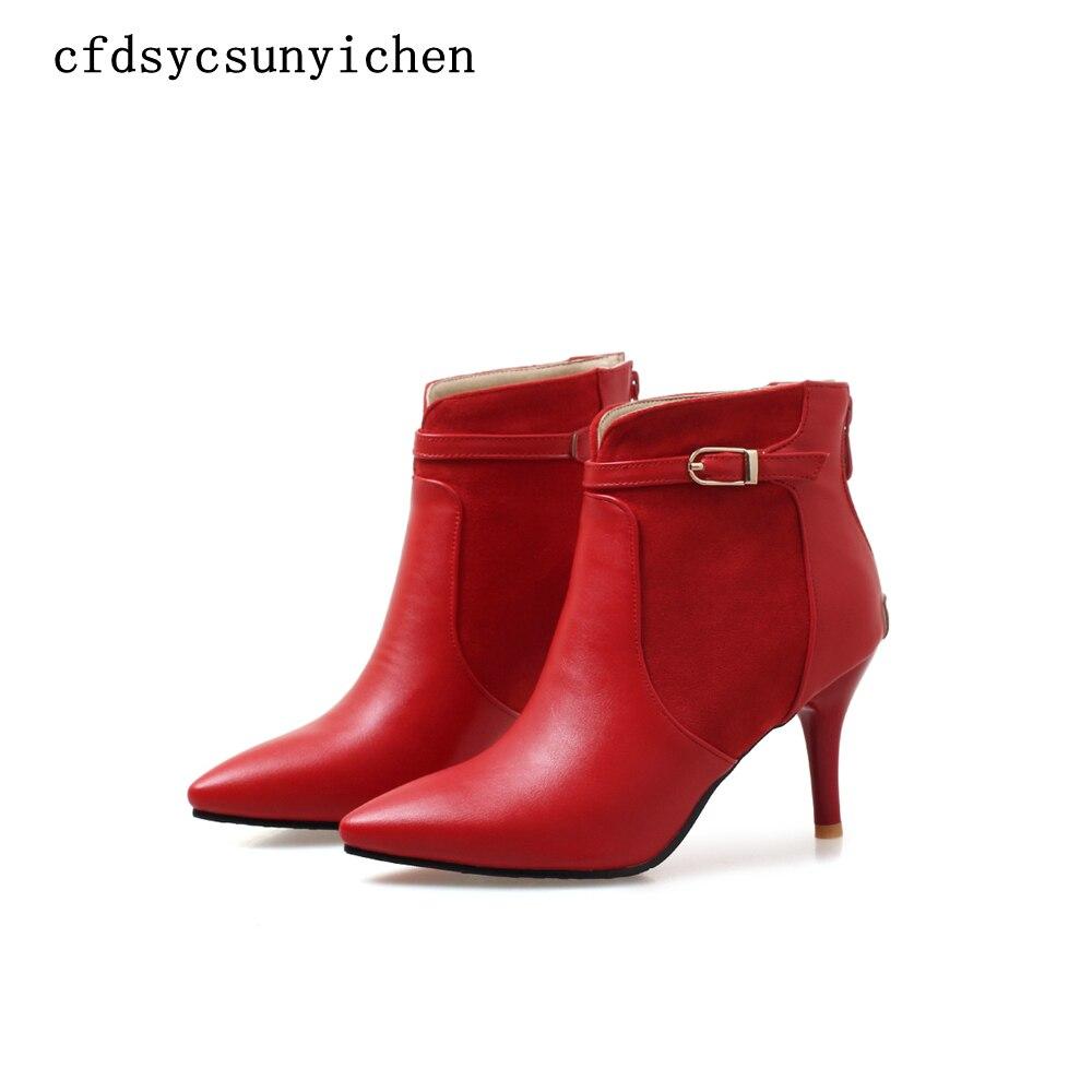 Zapatos de mujer Botines rojo verde negro talla grande 11,5 zapatos de mujer de marca de alta calidad tacones finos BA-ASCP-08-2