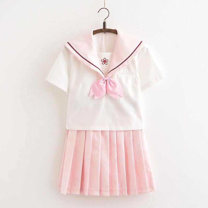 Svitanie Escuela Japonesa JK uniforme rosa y blanco traje de marinero con estampado de flor de cerezo traje de escuela secundaria