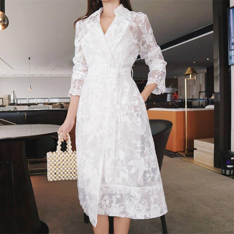 Женский Длинный тренчкот с кружевной вышивкой, элегантный белый тренчкот, ветровка, весна-лето C5273