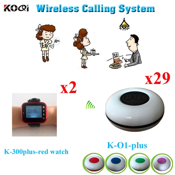 Wireless Restaurant Pager System Table Button And Watch Pager Restaurant Equipment (2pcs Watch Receiver +29pcs Call Button)