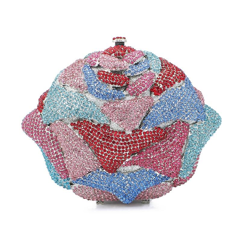 flower shape diamond crystal clutch evening bag ladies handbag evening bags cluth (8746A-BP)