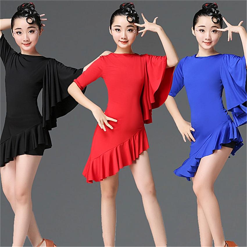 Children Latin Dance Dress 2020 News Swing Dance Dress Fringed Tango Salsa Ballroom Kids Dresses for Girls Costume Competition