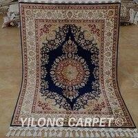 yilong 3 5x5 tabriz silk carpet blue handmade exquisite turkish silk rug 1770
