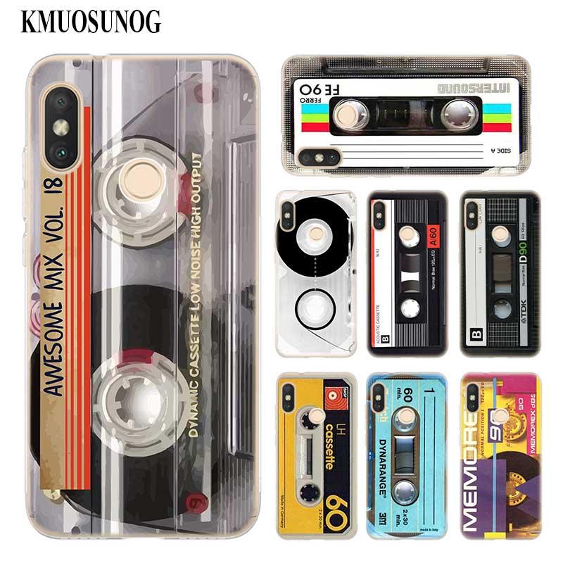 Funda de teléfono de silicona blanda transparente clásica Cassette antiguo para Xiaomi A1 A2 8 F1 Redmi S2 Note 4X 5 6 5A 6A Pro Lite Plus