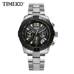 Time100 Relógios Masculinos Cinta de Aço Inoxidável Estilo de Negócio de Bracelete Discagem Preto Calendário à Prova de Águal de 50m