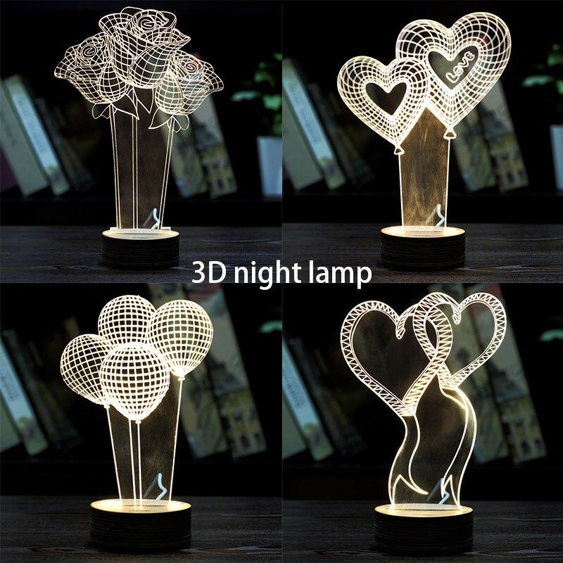 Romántico 3D amor en forma de corazón visualización Led luces de noche ilusión óptica arte regalo para boda Babyroom modelado Juguetes
