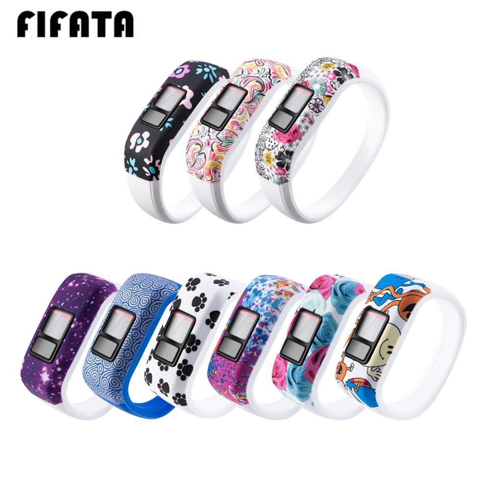 FIFATA para Garmin Vivofit JR/JR2/Vivofit3 niños banda inteligente camuflaje Linda correa de silicona reemplazo pulsera de goma suave