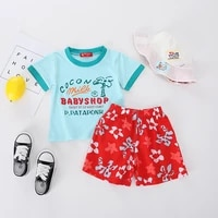 twin infant clothing baby boy summer cloth set 2019 new summer new born baby boy clothes cartoon clothes sets with hat