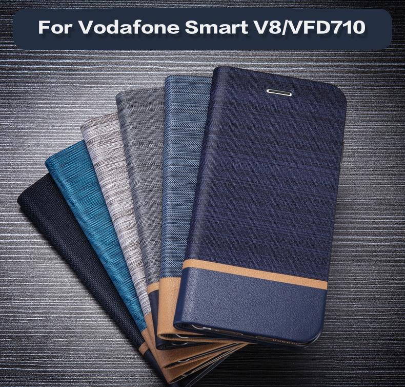 Funda de bolsa de cuero Teléfono de negocios para Vodafone Smart V8 Flip Wallet caja TPU silicona cubierta trasera para Vodafone Smart V8 VFD710