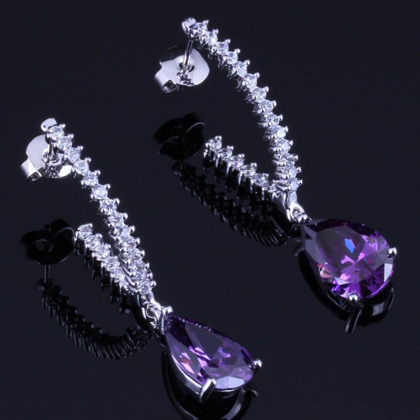 Heavenly Water Drop Purple Cubic Zirconia White CZ Silver Plated Drop Dangle Earrings V0363