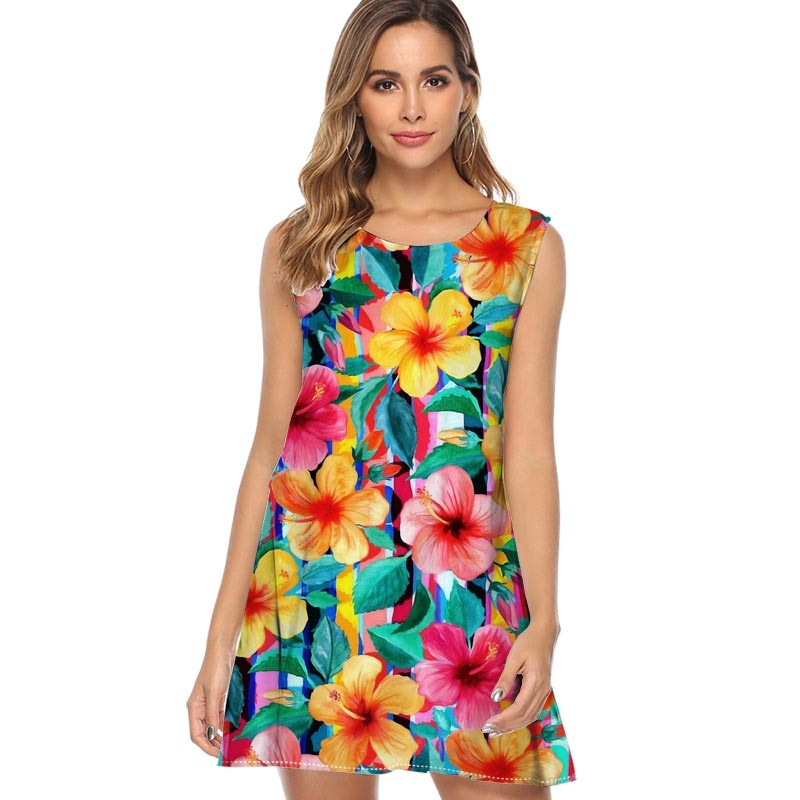 Maximist hibisco Hawaiano Floral con rayas 2019 nuevo estilo vestido de verano sin mangas estampado de flores Casual vestido de mujer