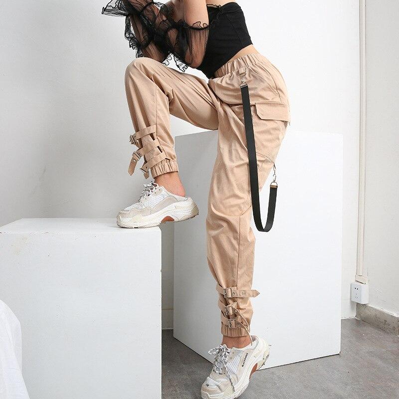 Elatic pantalones Harem de cintura alta para mujer, cadena de tela con hebilla pantalón caqui bolsillo largo Casual pantalones coreanos lápiz otoño 2018