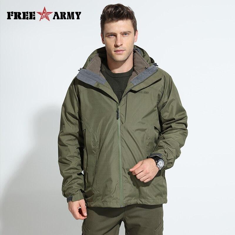 Brand Men Waterproof Jackets Detachable Lining Winter Warm Fleece Jacket Hooded Windbreakers Large Size Men's Jackets Cy85027