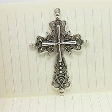 10 pièces creux filigrane religieux croix breloques pendentifs en métal en alliage de Zinc à la mode bijoux croix pour la fabrication de bijoux 42*63mm 4B659