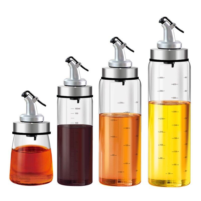 Botella de vidrio para cocina, botella de aceite de acero inoxidable a prueba de fugas para vinagre, salsa de soja de almacenamiento para bote, útil dispensador de almacenamiento, herramientas de cocina