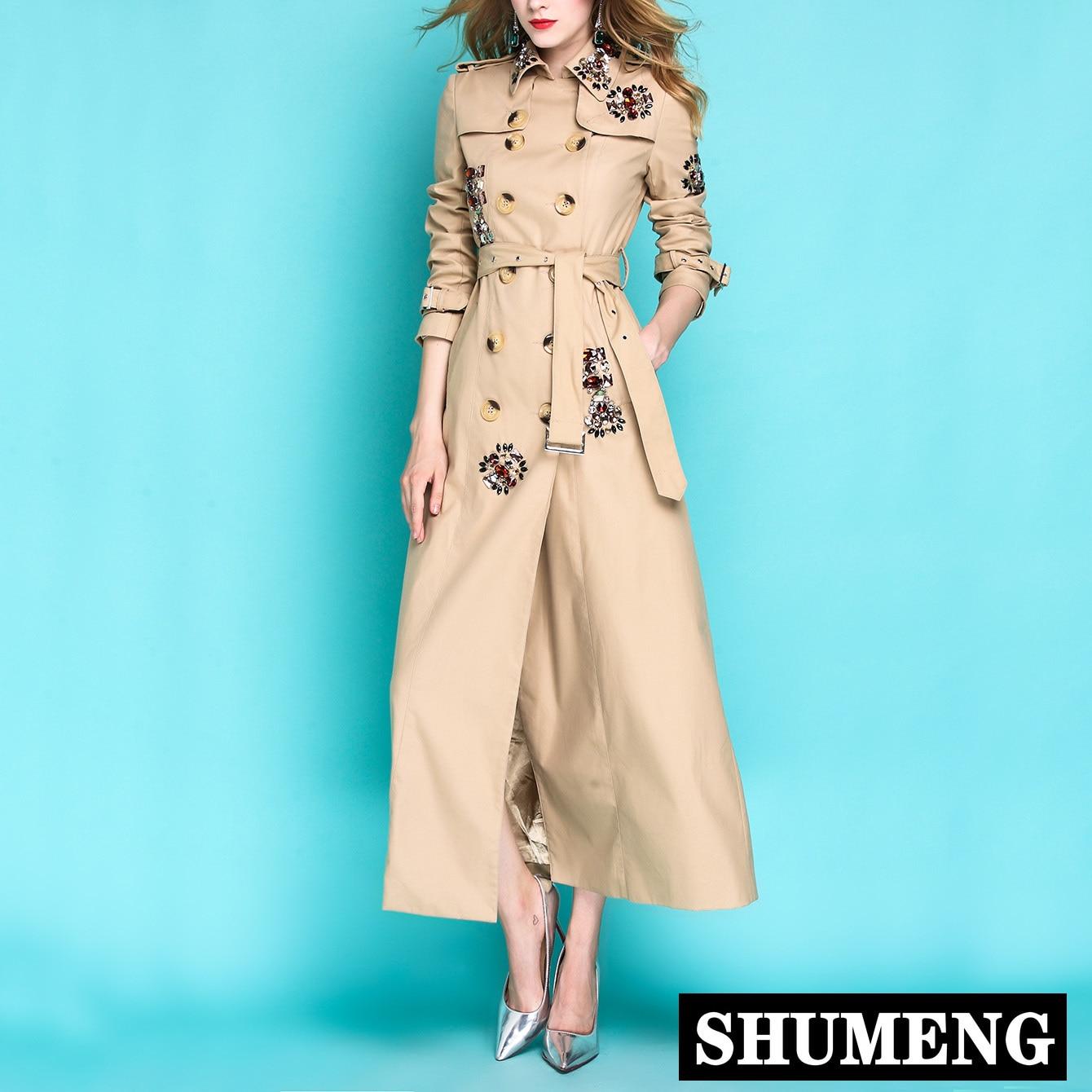 2019 nueva primavera y otoño mujer de lujo x-long gabardina solapa militar rebordear Delgado abrigo largo Doble chaqueta Outwear