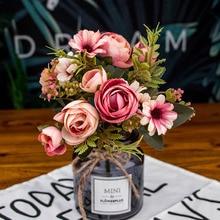 1 ramo de flores artificiales económicas Flor de seda europeo otoño pequeño té hoja falsa boda fiesta en casa jarrones para Decoración