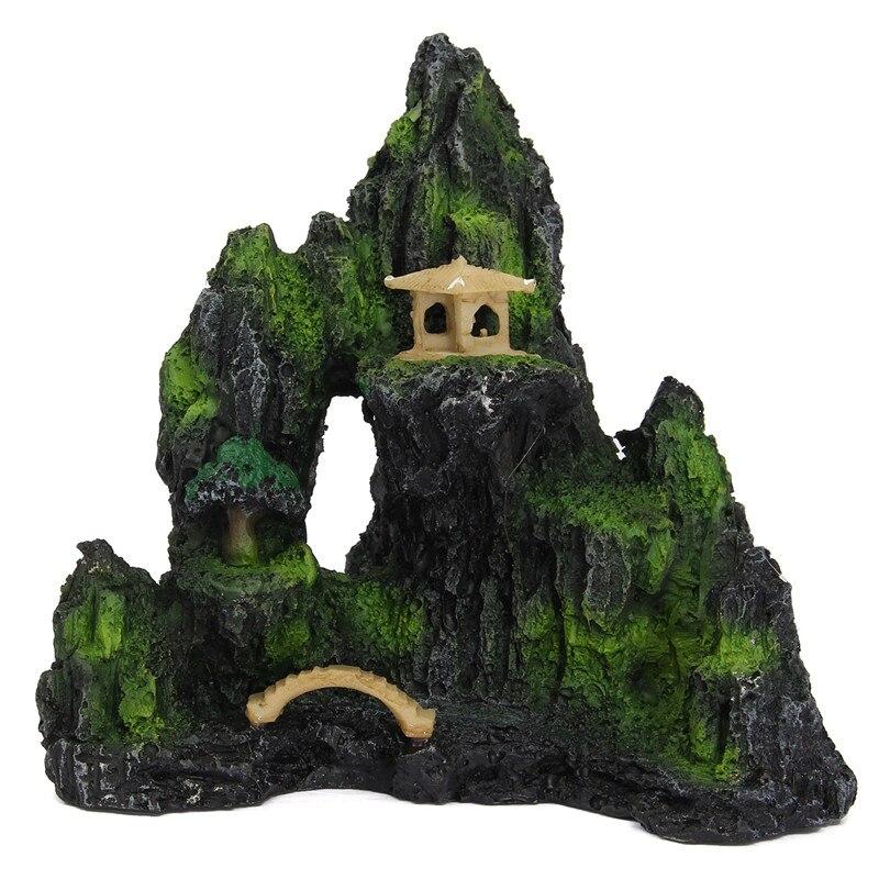 Acuario con Vista de resina de montaña ornamento árbol-roca cueva piedra decoración para peces tanque