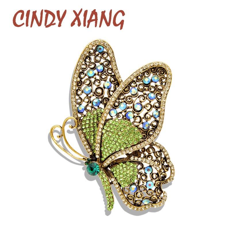 CINDY XIANG 2 colores elegir broches de mariposa de diamantes de imitación para las mujeres Grandes Vintage elegante Pins moda boda abrigo con joyas Pin