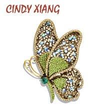 CINDY XIANG 2 kolory wybierz Rhinestone motylkowe broszki dla kobiet duże Vintage eleganckie szpilki moda biżuteria ślubna płaszcz Pin