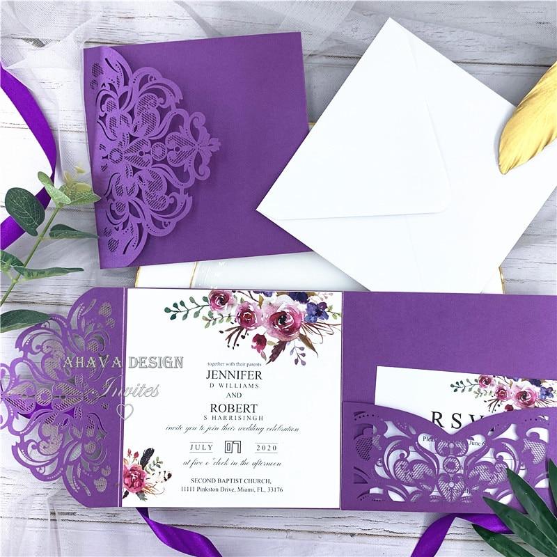 Fioletowy kwiatowy kieszeń laserowo wycinane zaproszenia ślubne z klasycznym jesień Magenta odcienie