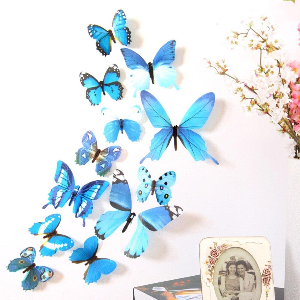 Decoración de dormitorio decoración de pared 12 Uds calcomanía de pared calcomanías de decoración para el hogar 3D mariposa arco iris
