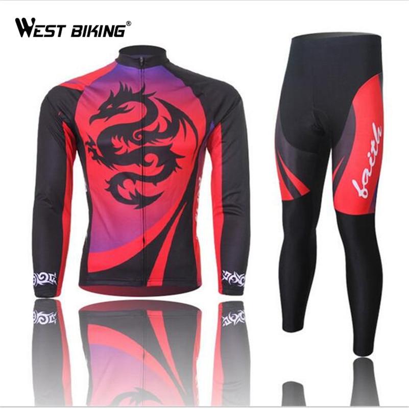 WEST BIKING Orginal ropa de Ciclismo de manga larga ropa de Ciclismo medias pantalones Jersey conjunto ropa de senderismo bicicleta ropa deportiva