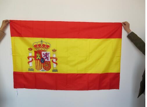 Bandera de España bandera colgante Bandera de poliéster España Bandera Nacional al aire libre interior 150x90cm para celebración gran bandera