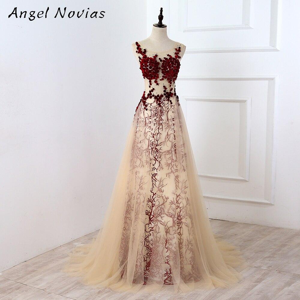 Vestido de noche largo de color champán y Borgoña Para mujer, ropa...